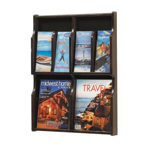Safco Products Expose 4 Magazine 8 Pamphlet Display, Mahogany/Black, 5704Mh front-1047137