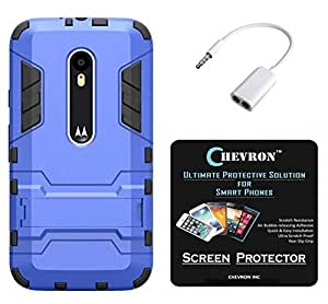 Chevron Hybrid KickStand Armor Protective Shockproof Back Cover for Moto X Play with HD Screen Guard & Audio Splitter (Blue)