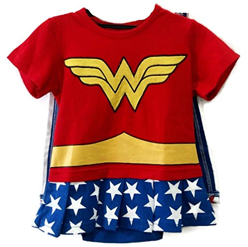 So Sydney Superhero Onesie Romper for Infant, Baby, Toddler, Boy or Girl (70 (3-6 Months), Wonderwoman – Red & Blue)