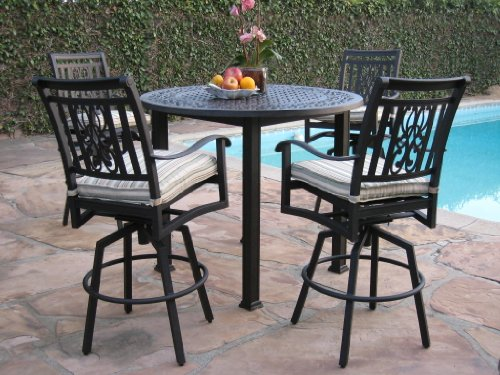 CBM Heaven Collection Outdoor Cast Aluminum Patio Furniture 5 Piece Bar Stool Table Set with All Swivel Chairs CBM1290
