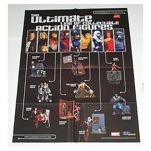 Marvel Ultimate Action Figures Comic Shop Dealer Display Promo Poster Punisher/Black Widow/Iron Man/Spider man/Captain America/Wolverine/Black Cat/Elektra/Hulk
