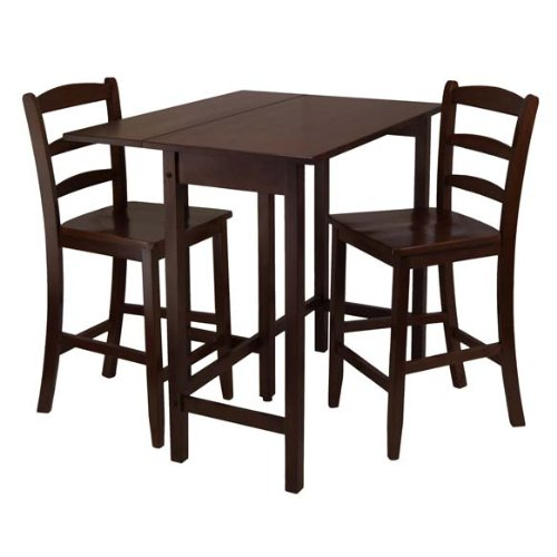 Furniture By Winsome Lynnwood 3pc Drop Leaf High Table with 2 Counter Ladder Back Stool/Antique Walnut