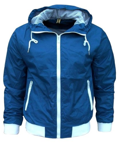 Kami Orbit Men's Lightweight Sports Rain Wind Jacket No Logo blue / white Medium