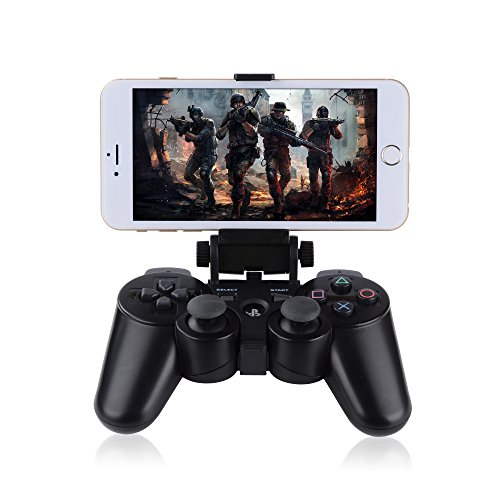 Megadream® Bluetooth Android Mobile Cell Phone Telescopic Gaming Clamp Clip Holder Mount for Playstation PS3 DualShock 3 Controller with D-Pad Cap