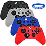 4 Pack Soft Silicone Gel Rubber Grip Controller Protecting Cover For Xbox One - Black/Red/Blue/White