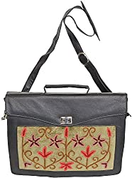 Exotic India Black Briefcase from Kashmir with Ari Embroidery - Black