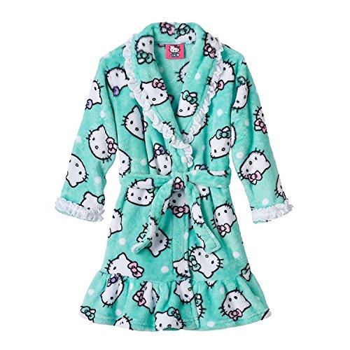Hello Kitty Bow Ruffled Fleece Robe Girls 4T Blue