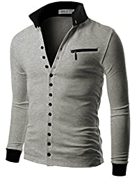 Doublju Men\'s Jersey Cardigan with Contrast Detail Gray Medium