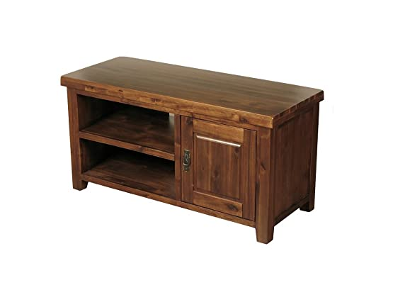 Bali acacia massiccio legno mobile TV con 1porte–Mobiletto TV al plasma–Finitura: rich Brown–salotto