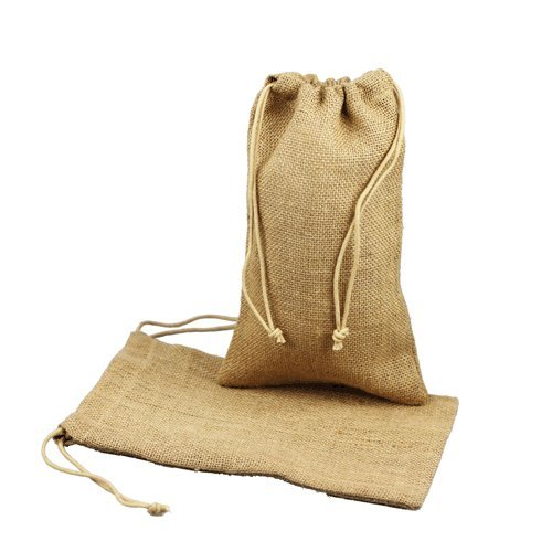 Burlap Jute Favor Bags (Pack of 12) - Select From 8 Colors Available in 3 Sizes (5x7 Natural)