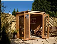Corner Summerhouse with Styrene Glazed Windows Size: 197 cm H x 199 cm W x 199 cm D from Mercia Garden Products