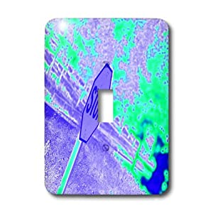 3dRose LLC lsp_79943_1 A Stop Sign In Neon Aqua and Purple On A Street Corner Single Toggle Switch