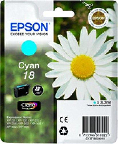 Epson original - 18-cyan-cartouche d'encre-pour expression home xP - 212, 215, 225, 322, 312, 315 412 415, 325, 422, ePS, 425 c13T18024010 xP30 iNK cY 180pages claria home 3,3 ml