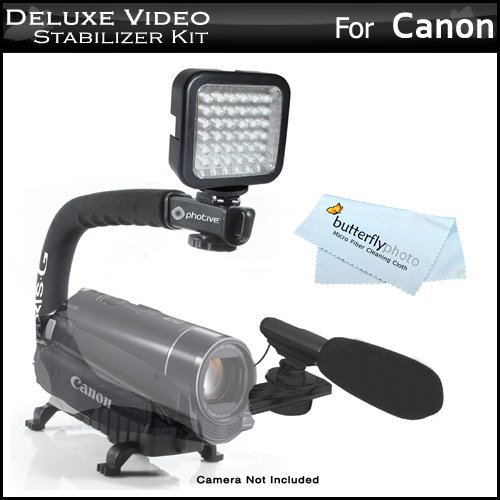 Deluxe LED Video Light + Mini Zoom Shotgun Microphone w/Mount + Video Stabilizer Kit For Canon VIXIA HF R52, HF R50, HF R500, HF G10, HF M32, HF M40, HF M41, HF S30, HV40, HF M400, HF R200 Camcorder Includes Stabilizing Handle + Microphone + LED Light Kit