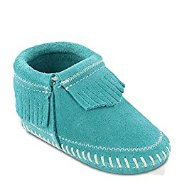 Minnetonka Infant-Girls\' Riley Moccasin Booties Turquoise 0 M US