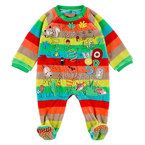 Boboli Velour Play Suit For Baby, Body Unisex-Bimbi, Mehrfarbig (Stripes 9261), 12 Mesi