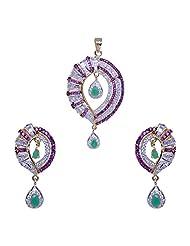 Gehna Green Jade, Pink Tourmaline & Cubic Zircon Studded Pendant & Earring Set