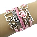 Doinshop New Useful Cute Nice Fashion Infinity Heart Pearl Love Key Leather Alloy Charm Bracelet Pink thumbnail