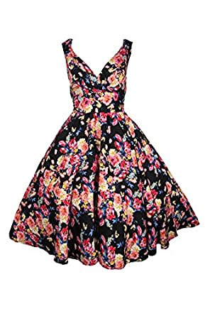 Kushi New Ladies Summer Retro 50s Rockabilly Swing Prom Party Dress - Size 10 - 20