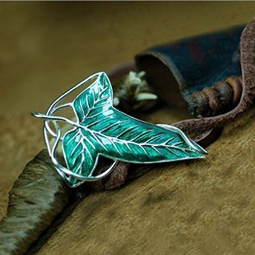 Lord of the Rings Elven Leaf Brooch Green Leaf Clasp Pin Silver + Enamel - 1