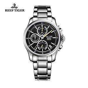 Reef Tiger Mens Sport Chronograph Watch Date Steel Yellow Hands Quartz Watches RGA1663