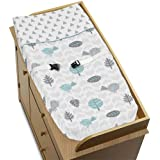 Nature Birds Arrows Baby Changing Pad Cover For Turquoise Blue And Gray Earth And Sky Collection