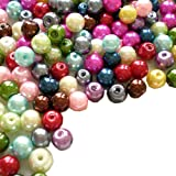 200pcs Mix Satin Luster Glass Pearl Round Beads 6mm ~Loose Beads~