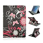 Pandigital 2 - 9 inch Universal Tablet Butterfly and Flowers on Black FOLIO CASE COVER with Rotating Stand