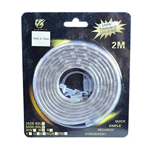 One-Step Easy-Plug Cool White Smd5050 High Density 110V Led Light Strip - 120 Leds, 2 Meter (6.5 Ft) Length - 5000K, 2000+ Lumens, Connect Up To 50 Meters (164 Ft)