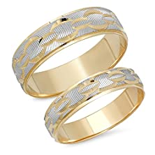 buy His & Her'S 4.5Mm/6.0Mm 14K Solid White And Yellow Gold Chain Link Design Wedding Band Ring Set