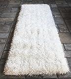 White Shaggy Shag Area Runner Rug 8 x 2 High End Designer Quality Carpet Bedroom Bathroom Living Room Hallway 2006