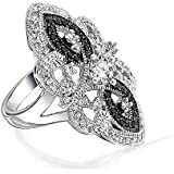 Bling Jewelry Black White Vintage Style CZ Armor Ring Rhodium Plated