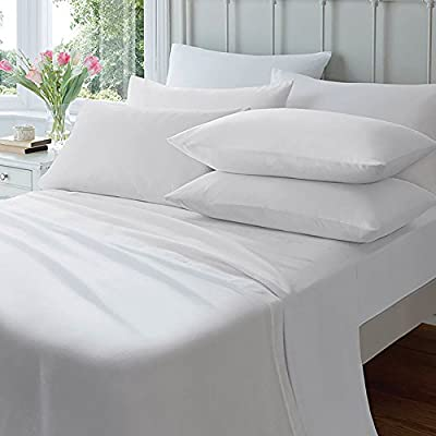 4ft, Small Double White Percale Superior Egyptian Cotton Fitted Sheet 180 thread Count By Sleep&Smile : White