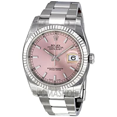 Rolex Datejust Pink Dial Stainless Steel Oyster Bracelet 18kt White Gold Bezel Mens Watch 116234PSO