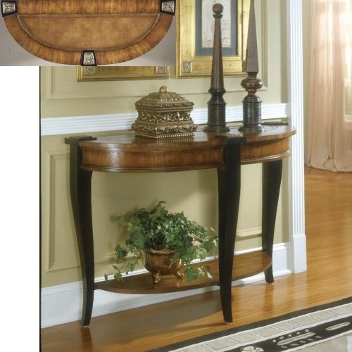 Cheap Connoisseur's Leather Inset Demilune Console Table (B000XSCJB2)