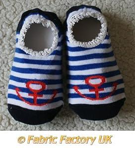 Sailor Anchor Royal Blue & White Stripes Baby Childrens Slippers Anti Non Slip Sock Shoes