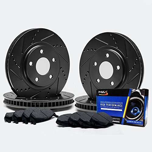 Max TA062183 [ELITE SERIES] Front + Rear Performance Slotted & Cross Drilled Rotors and Carbon Metallic Pads Combo Brake Kit (Mazda 6 Rotors 2007 compare prices)