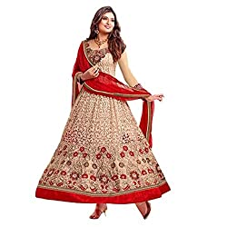 Parabdhani Fashion Women's Georgette Semi Stitched Suit (PBF_DM_255_Beige_Free Size)