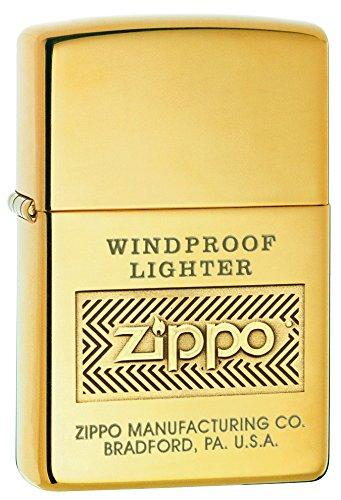 Zippo Logo Pocket Lighter, High Polish Brass (Gas Zippo compare prices)