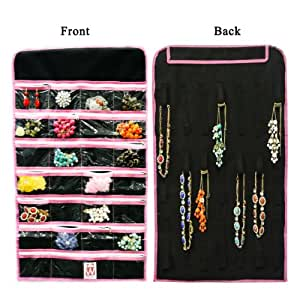 allydrew 28 zippered pockets hanging jewelry organizer with 21 holding loops black. Black Bedroom Furniture Sets. Home Design Ideas