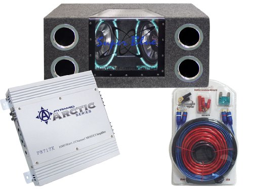 Pyramid Deluxe Amplifier/Speaker Package For The Car/Truck/Suv --- Pb717X 1000W 2 Channel Bridgeable Mosfet Amplifier + Bnps102 Dual 10-Inch 1000W Bandpass Speaker System With Neon Accent Lighting + 1000W 20 Ft. Amplifier Installation Wiring Kit