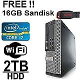 Dell Optiplex 980 Desktop Computer - Intel Core i7 2.8 up to 3.46CPU - 8GB DDR3 Memory - New 2TB Hard Drive - WiFi - Windows 7 Pro - Free 16GB External Sandisk - Refurbished