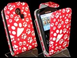 Goldstar Samsung Ch@t335 Chat S3350 Red Paw, Dog Footprint PU Leather Flower Flip Case Cover