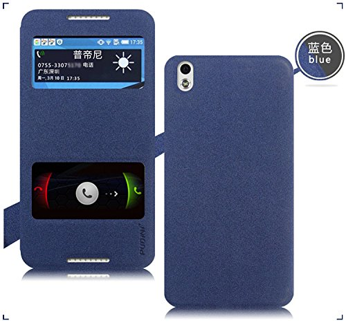 Original Pudini® Blue Colour Double Window Flip Case For HTC Desire 816 & 816G With Free Clear Screen Guard