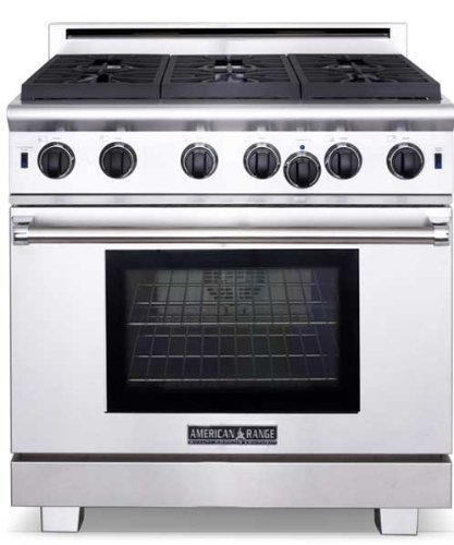 American Range ARROB636N Performer Series 36 Open Burner All Gas Range - Stainless Steel
