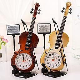 Efivs Arts Plastic Violin Designed Children Desk Clock Alarm Clock Home Ornament
