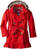 Pink Platinum Girls 2-6X Double Leopard Trench Rain Jacket, Red, 4