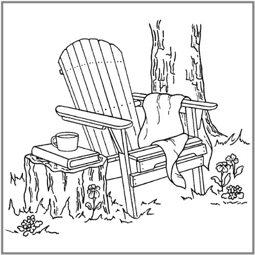 "Inky Antics Mounted Rubber Stamp 3""X3.25""-Adirondack Chair"