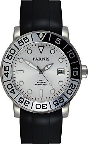 PARNIS Automatikuhr Modell 3226 MIYOTA-SPORT Herrenuhr Ø 42mm 316L Edelstahl Saphirglas verschraubte Krone 10BAR wasserdicht Kautschuk-Armband Automatik-Uhrwerk Miyota Kaliber 821A