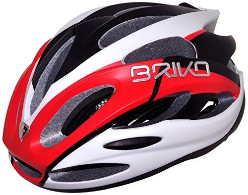 Briko Fiamma Casco Bici, Bianco Opaco/Rosso/Nero, L (59-61)
